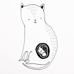 illustration by Maja Säfström / Cat with baby / majasbok Simple Illustration, Inspirational Wall Art, Mother And Child, Plexus Products, Needlework, Character Design, Cute Animals, Drawings, Instagram Posts