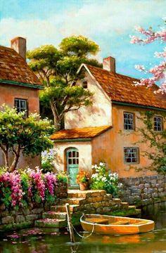 19 best Ideas for watercolor art landscape pictures Watercolor Art Landscape, Landscape Art, Landscape Paintings, Watercolor Paintings, Oil Paintings, Pictures To Paint, Art Pictures, Beautiful Paintings, Beautiful Landscapes