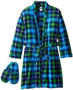 Amazon.com: Too Cool 2 Sleep Boy's Plush Plaid Bathrobe and Slipper Gift Set: Clothing