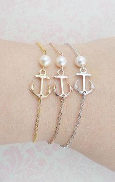 Anchor Bracelet with Swarovski Pearl friendship