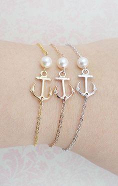 Anchor Bracelet with Swarovski Pearl friendship