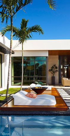 Contemporary Pool and Lounge area