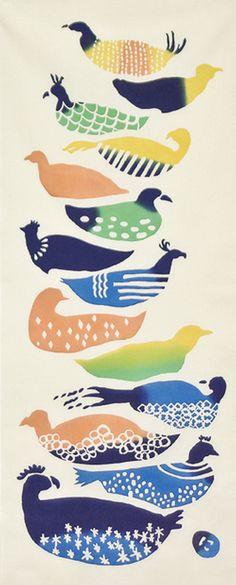 Japanese Tenugui Towel Cotton Fabric, Zodiac Rooster, Colorful Bird & Egg, Modern Art Wall Hanging Decor,Home Decor, Headband, Scarf, JapanLovelyCrafts