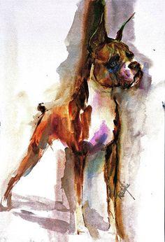 Boxer Full Watercolour Fine Art Dog Print SIGNED by by ratafia
