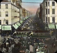 """Argyle Street, #Glasgow, #Scotland - Image Description from historic lecture booklet: """"Population, 1,034,000. Glasgow is located on the Clyde River, in the lowlands of Scotland, near rich coal and iron fields. It is in the midst of one of the greatest ship-building regions in the world. As a commercial center Glasgow ranks first in Scotland and second in the United Kingdom. Since the Clyde has been deepened Glasgow has become a great modern port, and it is also an important center for…"""