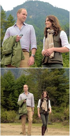 The Duke and Duchess of Cambridge chat to a monk on the trek up to Tiger's Nest during a visit to Bhutan on the 15th April 2016 in Thimphu, Bhutan.