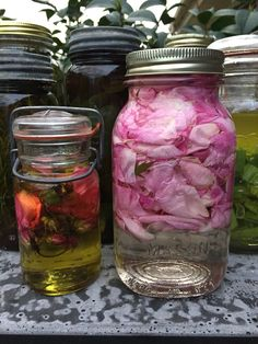 Make your own rose oil.  Clip fresh rose petals. Stuff as many as you can in a jar, then cover with olive oil. Wait 2 weeks for amazing rose oil. Great for bath or massage!