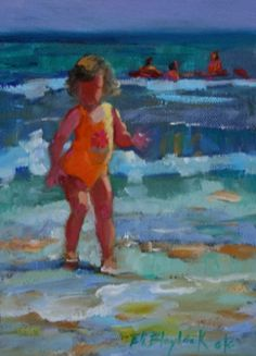 BABY GIRL IN ORANGE AT THE BEACH, painting by artist Elizabeth Blaylock