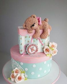 Cake for a baby girl - cake by Couture cakes by Olga Jednostavne Torte, Baby First Birthday Cake, Amazing Birthday Cakes, Birthday Cake Design, Birthday Cakes Girls Kids, Special Birthday, Amazing Cakes, Torta Baby Shower, Baby Girl Cakes