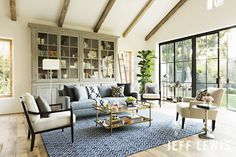 """Modern Cottage"" Living Room--- Jeff Lewis Paint: Cotton"