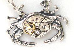 Steampunk  MECHANICAL CRAB  Necklace  Jeweled by GlazedBlackCherry. , via Etsy.