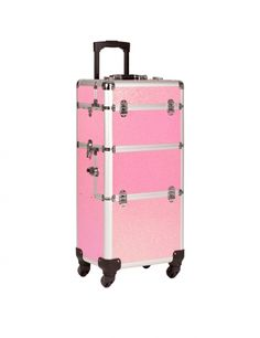 Ideal for transporting equipment in the mobile nail studio is an elegant glitter trolley in pink or black. The generous spacing inside the case means everything needed for nail designs fits easily. The trolley can be moved easily with handy handle and stable wheels. #nded #trolley #case #storage  www.nded.com