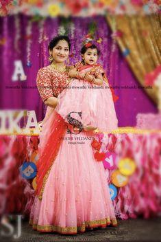 Baby Birthday Dress, Birthday Dresses, Mom Daughter, My Mom, Mom And Baby Dresses, Maggam Work Designs, Baby Dress Design, Lehenga, Saree