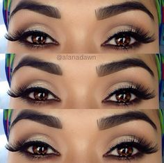 I love a soft shimmery lid with a dramatic Black lining and wing tip, add a nice butterfly lash and eureka!