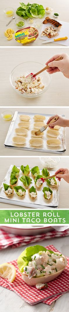 Dreaming of summers on the shores of the North Atlantic? Transport your taste buds to the coast of Maine with these Lobster Roll Taco Boats! Fill buttered and baked Old El Paso Taco Boats™ with traditional lobster salad, top with lettuce and lemon - and voila - a new twist on the coastal favorite! Ready to eat in just 25 minutes!