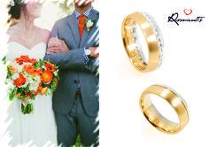Alianças Romantis em Ouro Bicolor com cravação em zircónias! // Alianzas Romantis en Oro Bicolor con engaste en circonitas! #romantis #romantisjewelry #aliançadecasamento #casamento#ourobicolor #zircónias #romantis #romantisjewelry #alianzadematrimonio #boda #orobicolor #circonitas ALR3820B/ALR3577A Foto by: stylemepretty.com