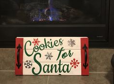 Cookies for Santa Tray Christmas Craft Fair, Easy Christmas Decorations, Christmas Craft Projects, Christmas Crafts To Make, Christmas Signs Wood, Xmas Ornaments, Holiday Crafts, Christmas Time, Christmas Gifts