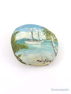Decorative stone painted with oil painting | Yacht in the tropics | Home decor by Savousepate - pinned by pin4etsy.com #art