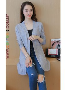 Knitted Woolen Double Pocket Cardigan