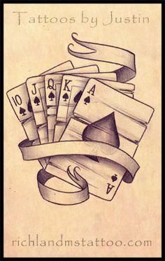 Old school Royal flush tattoo sketch. Old school Tattoo Card, Card Tattoo Designs, Tattoo Design Drawings, Tattoo Sketches, I Tattoo, Wrist Tattoo, Tattoo Small, Tattoo Flash, Tattoo Zeichnungen