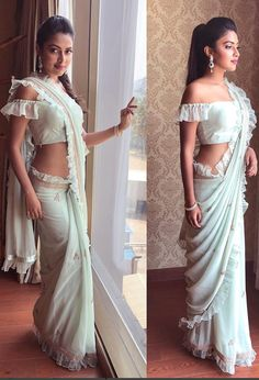 Nyc Dresses, Indian Dresses, Indian Outfits, Women's Fashion Dresses, Sexy Dresses, Indian Clothes, Trendy Sarees, Stylish Sarees, Saree Draping Styles