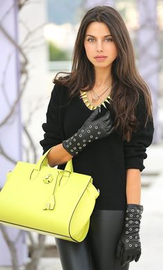 Black Leather Gloves, Leather Pants, Leather Fashion, Michael Kors Jet Set, Women Wear, Beautiful Women, Tote Bag, Lady, Boots