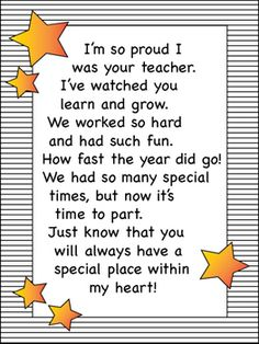 Show personal thankfulness with these instructor gifts, say thanks for such a labor with one of these relatively easy Do it yourself their personal gifts every single your child can aid with. Student Teacher Gifts, Letter To Teacher, Student Teaching, Parent Letters, Poems For Students, Letter To Students, Graduation Poems, Kindergarten Graduation, Pre K Graduation