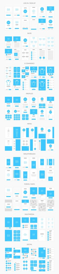 Flowy is made with fast workflow in mind, so we created 236 ready to use templates, built on the 1170 grid and in Photoshop Sketch file formats. You can create flowcharts for both mobile and web projects of any complexity and show them to your team or c… Layout Design, Interaktives Design, Web Layout, Website Layout, Flat Design, Creative Design, App Wireframe, Wireframe Design, App Ui Design