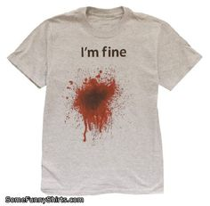 I'm Fine T-shirt - X-Large - Ash