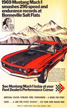 Ford Mustang Mach 1 Bonneville Salt Flats 1969 - Mad Men Art: The 1891-1970 Vintage Advertisement Art Collection