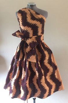 Make a Statement African Wax Print One Shoulder Dress 100% Cotton With Side Zipper and Removable Tie Sash Tan Black Red Feisty Print
