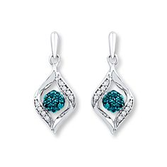 Artistry Diamonds Artistry Diamond Earrings 1/5 ct tw Blue/White Sterling Silver CpWXEW