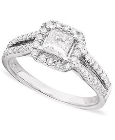 Engagement Ring, Princess-Cut Diamond (1-1/3 ct. t.w.) and 14k White Gold