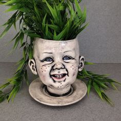 Large doll head planter Baby face, My first teeth head planter Ceramic planter doll head pottery  #Head-11-21-16 by SueSueSueCrafts on Etsy