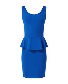 Dark Blue Sleeveless Peplum Bodycon Dress £12.99 - Comes in Black, Pink, Lime, Blue http://www.newlook.com/shop/womens/dresses/dark-blue-sleeveless-peplum-bodycon-dress_308826640