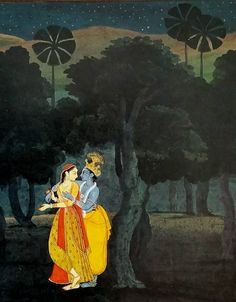 detail. Radha and Krsna. Gita Govinda. Gen.1 after Nainsukh dated 1778 (western atmospheric landscape with figures painted on top, poss. 2 painters for 2 genres ). Knosos Coll.