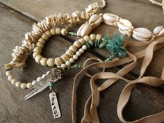 Boho Ethnic Hippie necklace Beach necklace Trade by BeadStonenSkin Beach Bracelets, Beach Jewelry, Handmade Necklaces, Jewelry Necklaces, Handmade Jewelry, Fringe Necklace, Beaded Necklace, Leather Fringe, Handmade Sterling Silver