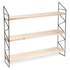 Wandrek met houten schappen, hoogte 56 cm, LUKE