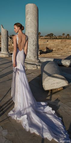 nurit hen 2016 sleeveless jewel neck illusion bodice lace trumpet wedding dress (lw24) bv sexy low back long train