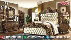 Tempat Tidur Mewah Sultan Full Ukiran Jepara Dark Gold DF-1329