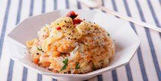 Frizzled rice, chicken, garlic