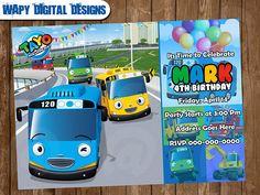 Tayo the Bus Digital Party invitation customize invite