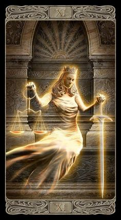From the upcoming Lo Scarabeo deck Tarot Card Decks, Tarot Cards, Symbole Justice, Magic Creatures, Justice Tarot, Lady Justice, Tarot Major Arcana, Oracle Cards, Archetypes