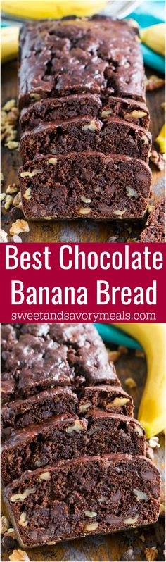 Best Chocolate Banana Bread is the best banana bread you will ever have! Incredibly tender, moist and flavorful, loaded with chocolate chips and crunchy walnuts! #chocolate #banana #bananabread