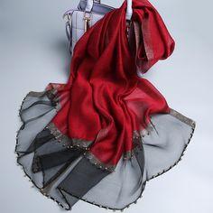 Vogue Silk Scarf Elegant Lady Casual Scarves Shawls for Women – Nowachic Modest Fashion Hijab, Pakistani Dresses Casual, Silk Wool, Lace Silk, Designer Scarves, Scarf Design, Wool Scarf, Cashmere Scarf, Womens Scarves