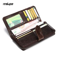 New Luxury Brand 100% Top Genuine Cowhide Leather High Quality Men Long Wallet Zipper Purse Cowhide Card Holders Clutch Bag