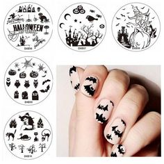 5Pcs Halloween Nail Art Stamping Spider Moon Stars Bird Image Plate... (15.485 COP) ❤ liked on Polyvore featuring home, home decor, bird home decor, bird plates, star home decor, halloween home decor and halloween plates