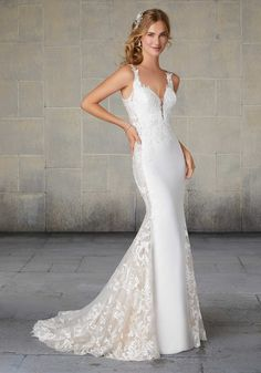 Mori Lee 2124 Saskia Sleek and sophisticated, our Saskia wedding gown features gorgeous frosted embroidery on a slim crepe gown with sheer net over chantilly lace side panels. A long, sheer train inset completes the look. Available at The Wedding Shop Mori Lee Bridal, Mori Lee Wedding Dress, Wedding Gown Sizes, Bridal Wedding Dresses, Wedding Dress Styles, Bridesmaid Dresses, Sheath Dresses, Prom Dresses, Grey Prom Dress