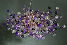 Lampadari a sospensione con bolle viola, grigie e chiare illuminazione per sala da pranzo, salotto o camera da letto.