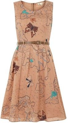 Taupe Flutter-by map dress